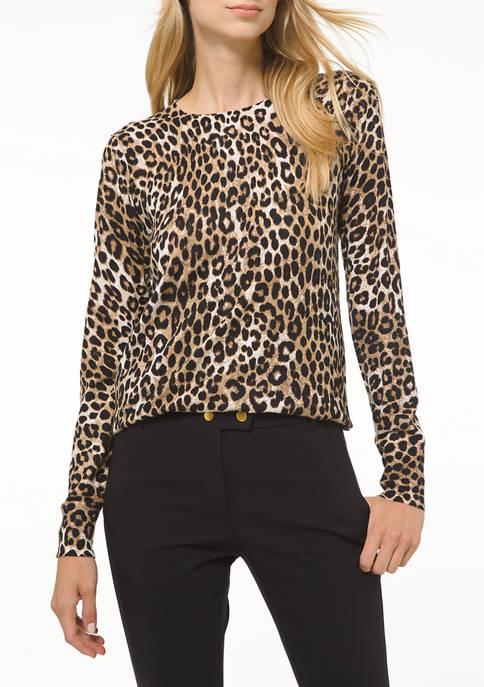 MICHAEL Michael Kors Petite Cheetah Crew Neck Sweater