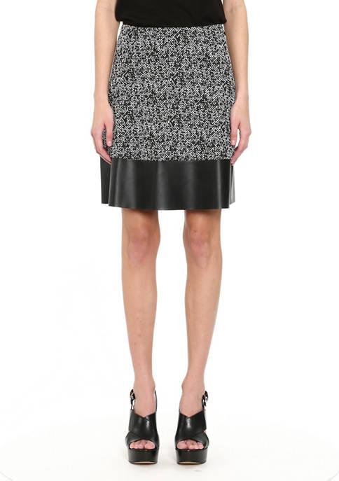 MICHAEL Michael Kors Petite Leather Trim Skirt