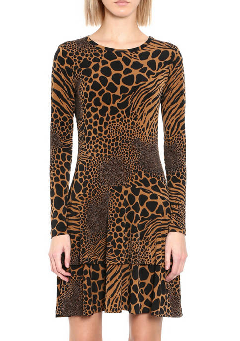 MICHAEL Michael Kors Petite Animal Patchwork Flounce Dress