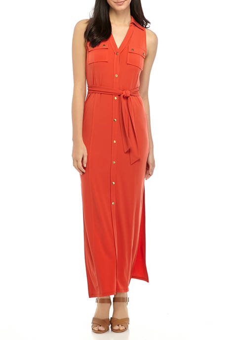MICHAEL Michael Kors Petite Sleeveless Maxi Shirt Dress