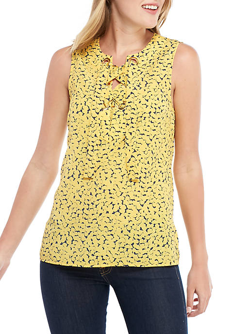 MICHAEL Michael Kors Mini Floral Lace Up Sleeveless
