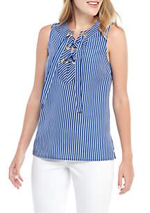 8706fb8a336 ... MICHAEL Michael Kors Mini Stripe Lace Up Sleeveless Blouse