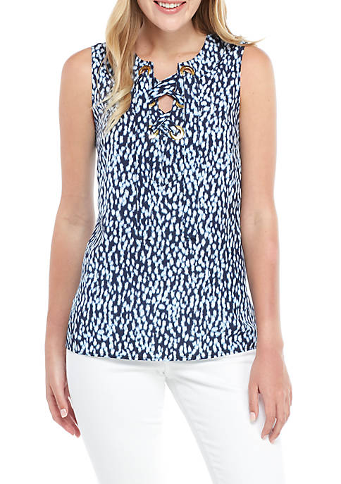 MICHAEL Michael Kors Ikat Spot Lace Up Sleeveless