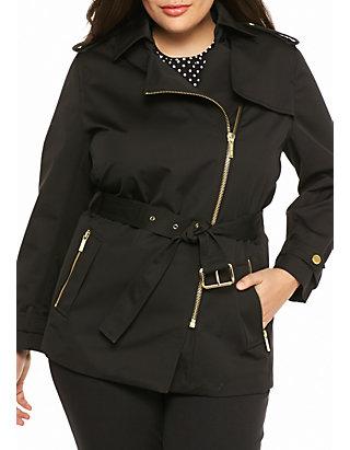 aa4ccbda291 MICHAEL Michael Kors. MICHAEL Michael Kors Plus Size Zip Detail Trench Coat