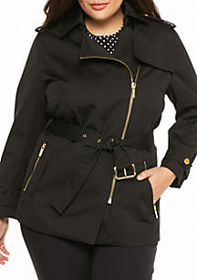 Plus Size Zip Detail Trench Coat