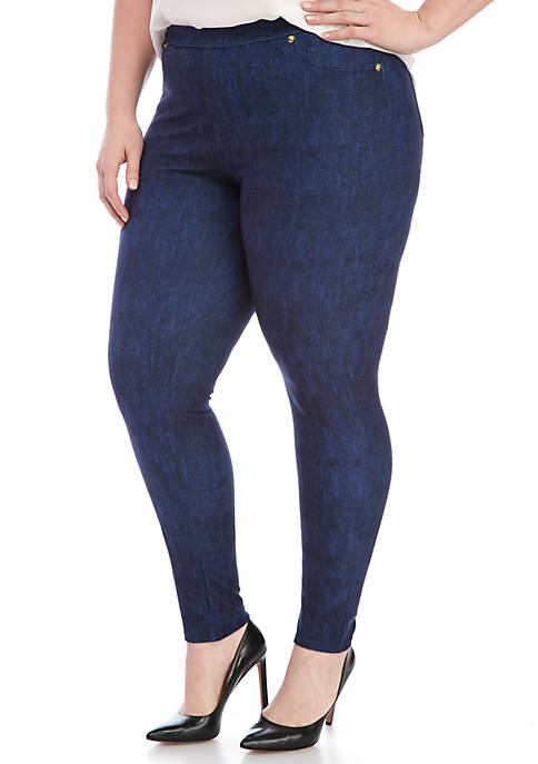 Plus Size Denim Pull On Leggings