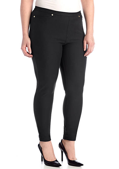 Plus Size Solid Pull-On Leggings