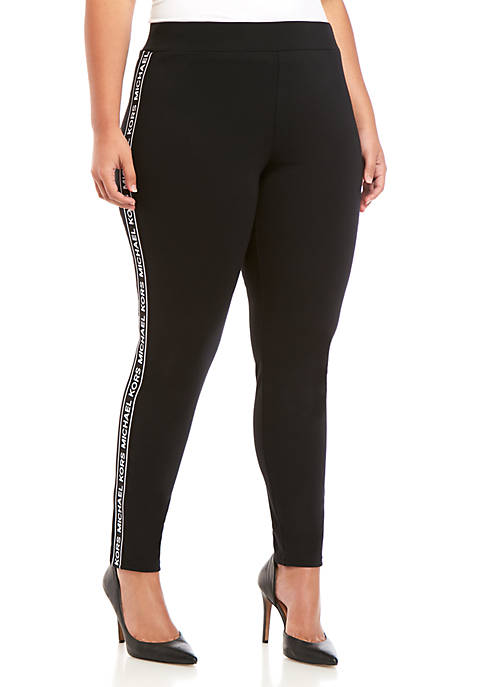 MICHAEL Michael Kors Plus Size Logo Tape Leggings