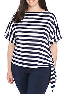 MICHAEL Michael Kors Plus Size Graphic Stripe Side Tie Top