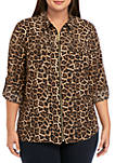 Plus Size Leopard Print Dog Tag Shirt