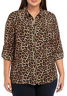 MICHAEL Michael Kors Plus Size Leopard Print Dog Tag Shirt
