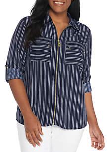 MICHAEL Michael Kors Plus Size Bengal Print Dog Tag Zip Shirt