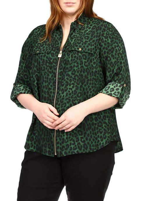 Plus Size Cheetah Roll Sleeve Dog Tag Shirt