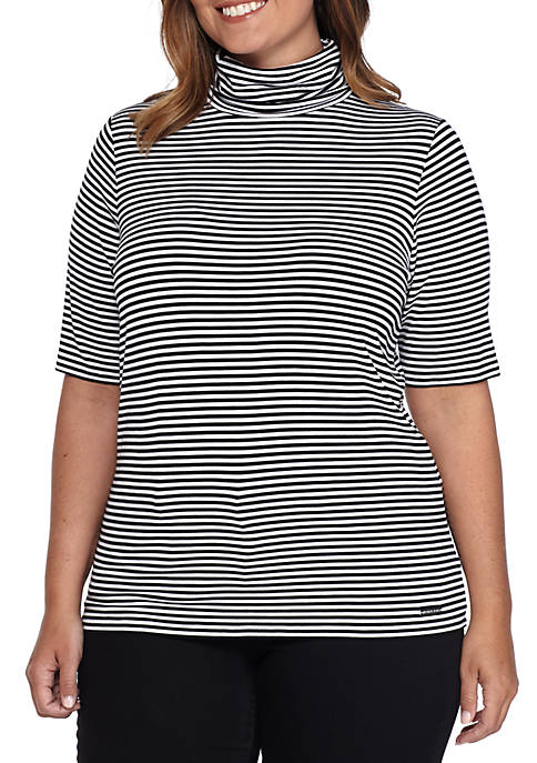 MICHAEL Michael Kors Plus Size Mock-Neck Stripe Top
