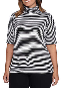 Plus Size Mock-Neck Stripe Top