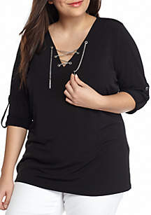 Plus Size Chain Lace-Up Tunic