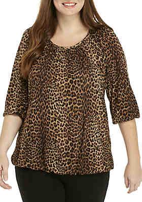 02c3b86726a MICHAEL Michael Kors Plus Size Leopard Print Peasant Top ...