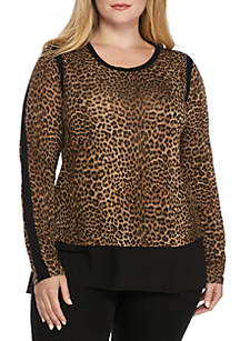 Plus Size Persian Leopard Mixed Media Top
