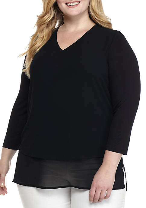 MICHAEL Michael Kors Plus Size Mix Media Blouse