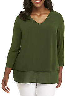 Plus Size Mix Media Blouse