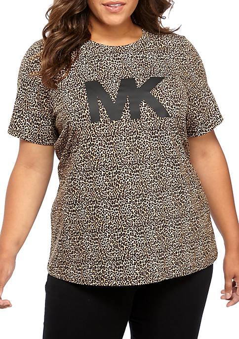 MICHAEL Michael Kors Plus Size Leopard Logo T-Shirt