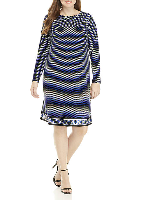Plus Size Scoop Neck Printed Dress