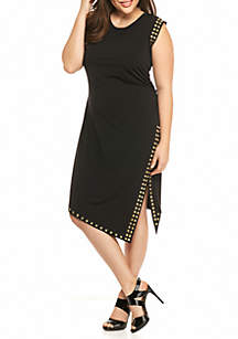 Plus Size Stud Uneven Hem Dress