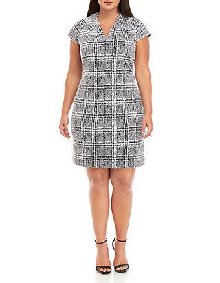 Plus Size Plaid Jacquard Bodycon Dress