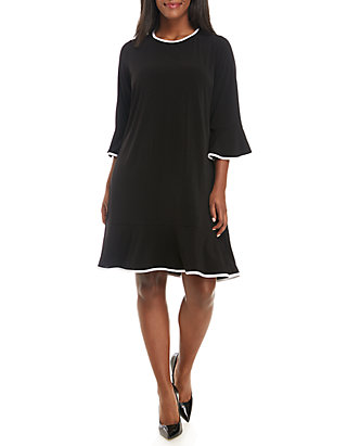 Plus Size Long Sleeve Flounce Dress with Piping