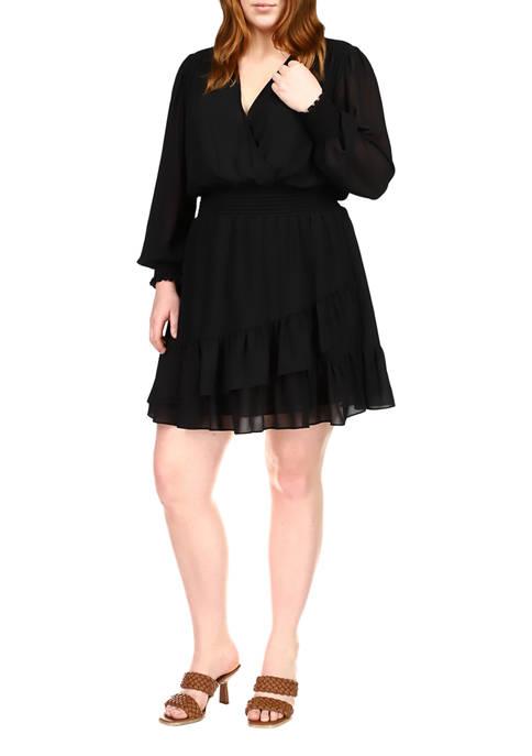 MICHAEL Michael Kors Plus Size Solid Ruffle Dress