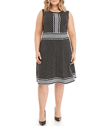 Plus Size A-Line Dotted Dress