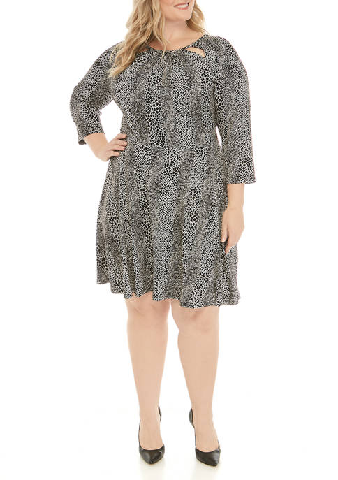 Plus Size Cutout Snakeskin Print Dress