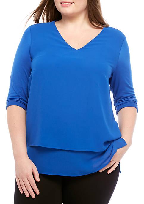 Plus Size Multi Woven Layer Top