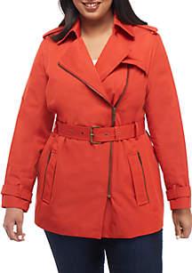 Plus Size Zip Front Trench Coat