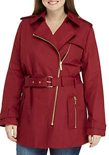 Plus Size Zip Front Trench Coat