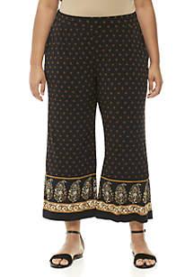 Plus Size Paisley Garden Border Pants