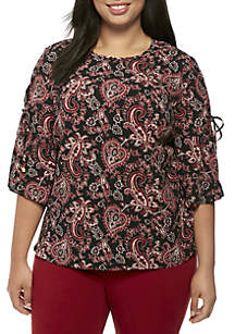Plus Size Paisley 3/4 Sleeve Top