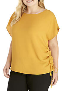 Plus Size Side Drawstring Top