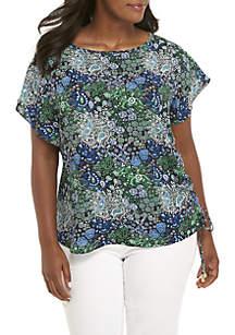 Plus Size Paisley Remix Short Sleeve Top