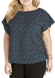 Plus Size Space Dye Tweed Top