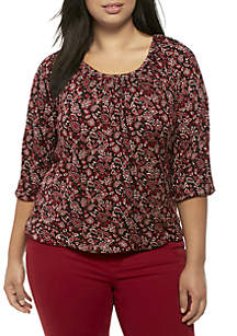 Plus Size Bandanna Scoop Neck Peasant Top