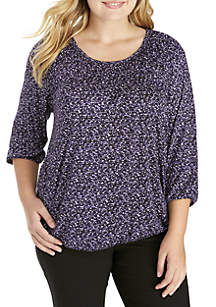 Plus Size Space Tweed Peasant Top