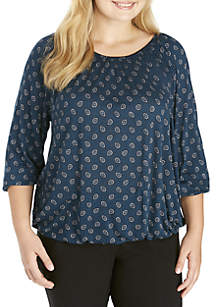Plus Size Scatter Foulard Peasant Top
