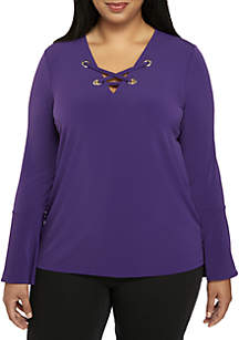 Plus Size Bell Sleeve Lace-Up Top