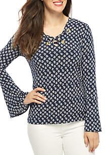 Plus Size Batik Bell Sleeve Top