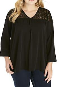 Plus Size V-Neck Shirred Yoke Top