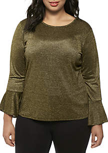 Plus Size Long Bell Sleeve Top