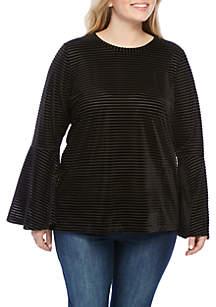 Plus Size Velvet Stripe Flutter Sleeve Top