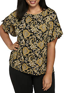 Plus Size Short Ruffle Sleeve Printed Top