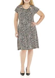Plus Size Boho Shirred Neck Dress